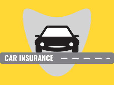 黄色の背景にグレーブロットイラストで自動車保険。のイラスト素材 ...