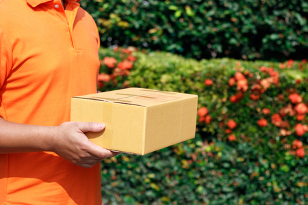 Delivery man with parcel.