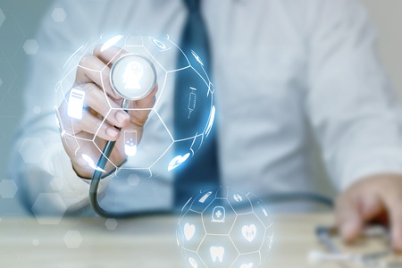 Medicine doctor and stethoscope with medical icon network concept.