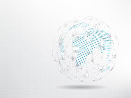 Global network background. Social media connection concept. Vettoriali