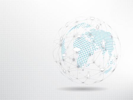 Global network background. Social media connection concept. 向量圖像