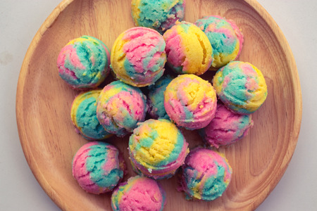 Homemade rainbow or pastel cookie.