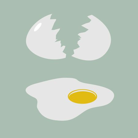 Cracked egg with shell on white background