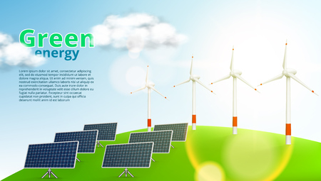 Solar Panels And Wind Turbines Green Energy Template