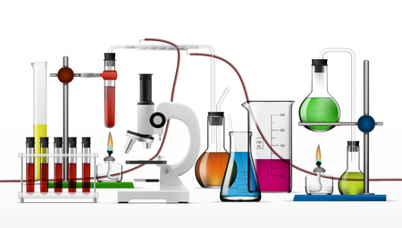 Realistic Chemical Laboratory Equipment Set