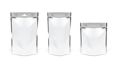 White Pouch Snack Sachet Bag. EPS10 Vector