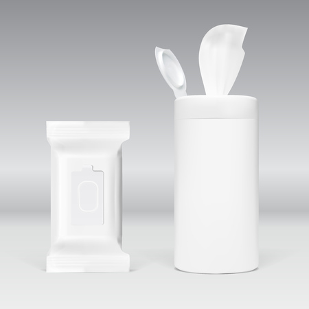 Realistic Wet Wipes Plastic Pack. EPS10 Vector