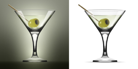 Transparent Glass Goblet With Martini Vermouth Cocktail And Olive. EPS10 Vector Illustration