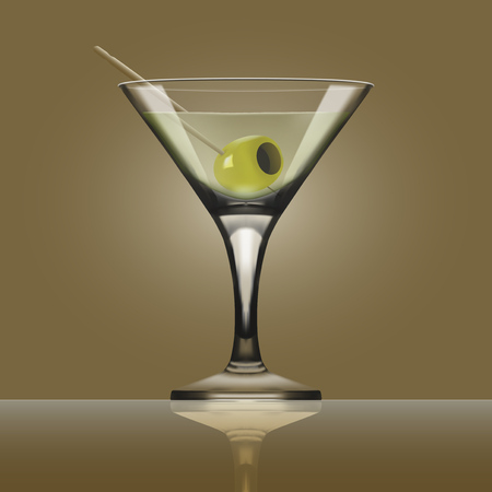 Transparent Glass Goblet With Martini Vermouth Cocktail. EPS10 Vector
