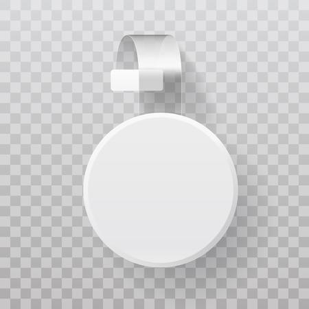Sale Point Tag. White Clear Round Supermarket Shelf Wobbler Label