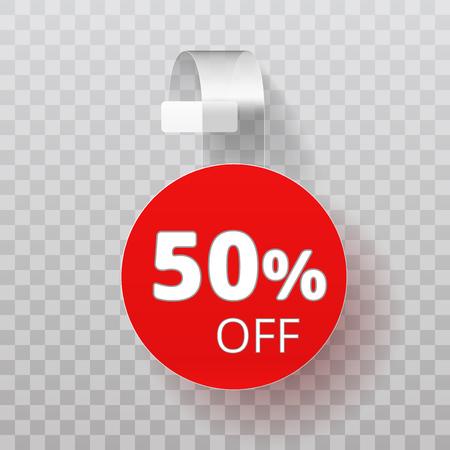 Sale Half Off Point Tag. White Clear Round Supermarket Shelf Wobbler Label