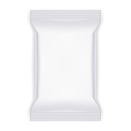 White food snack plastic pillow bag illustration. Иллюстрация