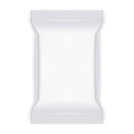 White food snack plastic pillow bag illustration. Stock Illustratie