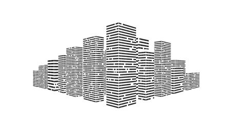 Simple City Illustration On White Background.