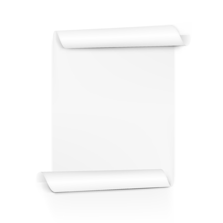 Clear white paper scroll. Sheet roll on both sides. Vector illustration.
