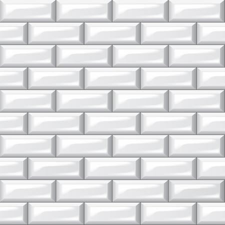 White Slick Surface Bricks Wall Seamless Background.