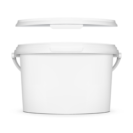 Realistic White Plastic Bucket Jar For Branding.