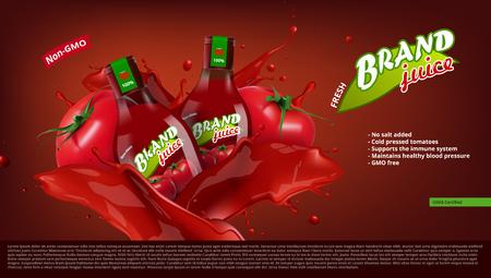 Fresh Tomato Juice In Glass Bottle With Juice Splash. EPS10 Vector