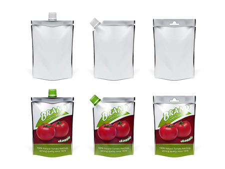 Realistic Tomato Ketchup Doypack Pack Set. EPS10 Vector