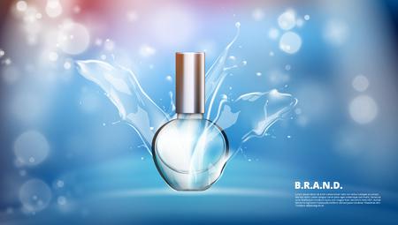 Realistic Perfume Glass Bottle Under Water Splash Advertising Illustration