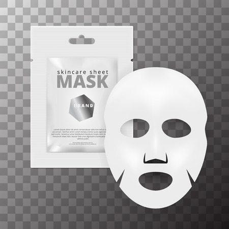 Realistic 3D White Facial Cosmetic Sheet Mask. EPS10 Vector