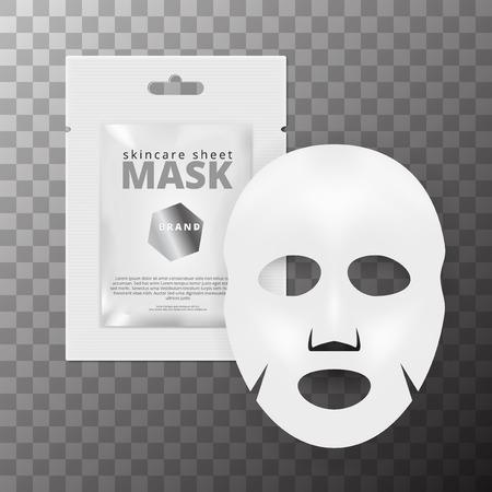 Realistyczna 3D biała kosmetyczna maska do twarzy w płachcie. Eps10 wektor Ilustracje wektorowe
