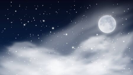 Abstract Stars Cloudy Night Sky With Big Dipper Constellation. EPS10 Vector