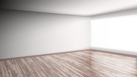 Modern Bright Interior Empty Room isolated on plain background.