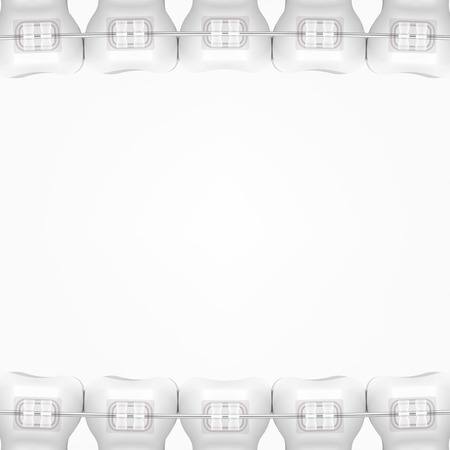 White Clear Teeth With Ceramic Braces isolated on plain background. Ilustração