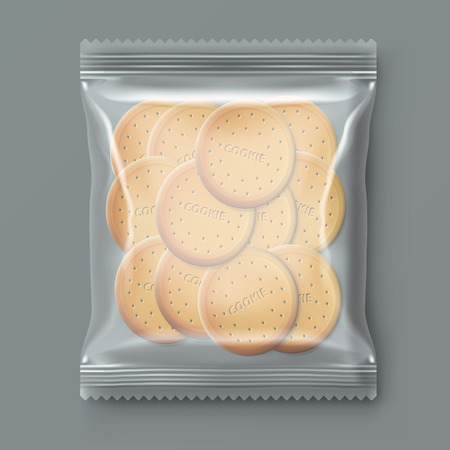 Transparent Plastic Snack Cookie Pack illustration.