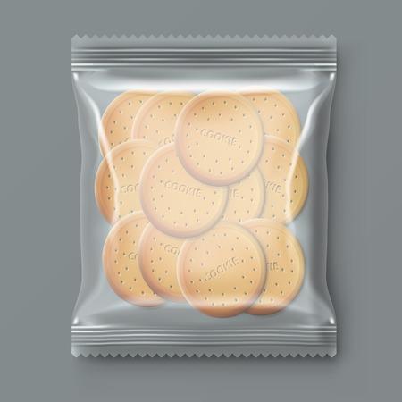 透明プラスチックスナッククッキーパックイラスト。