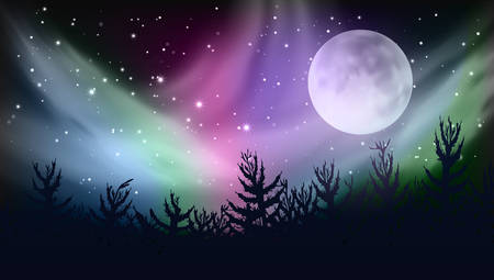 Abstract Forest Multicolored Northern Lights Aurora Borealis Sky. EPS10 Vector