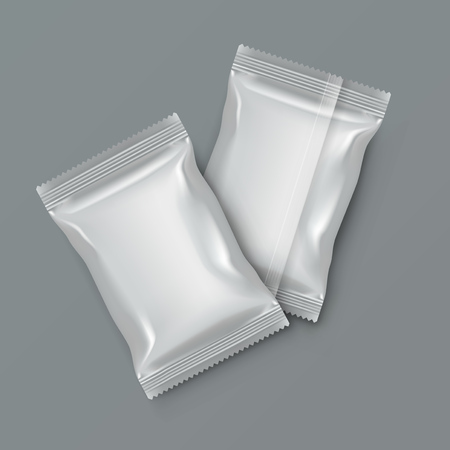 White Blank Foil Food Packing. Vector illustration.  イラスト・ベクター素材