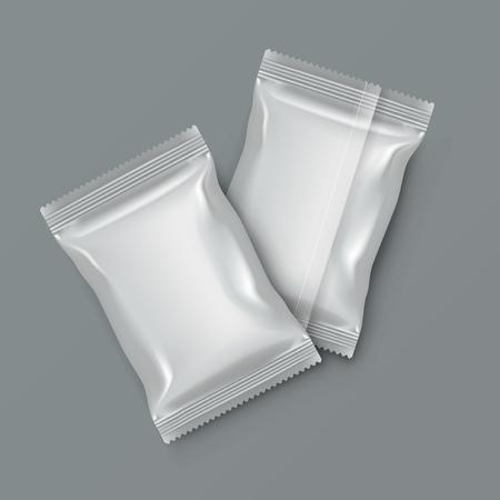 White Blank Foil Food Packing. Vector illustration. Vettoriali