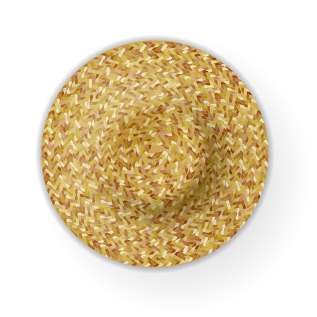 Realistic Summer Braided Hat Top View. Vector 일러스트