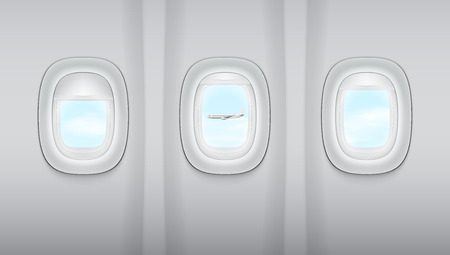 Reealistic Light Gray Plane Windows And Other Plane. EPS10 Vector