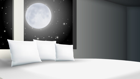 Abstract Stars Cloudy Night Bedroom With Big Pillows