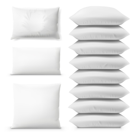 Various White Pillows On White Background Set. EPS10 Vector