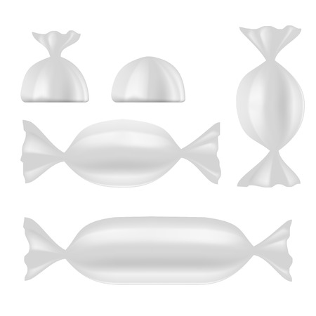 White Foil Pack For Sweet Candy. EPS10 Vector