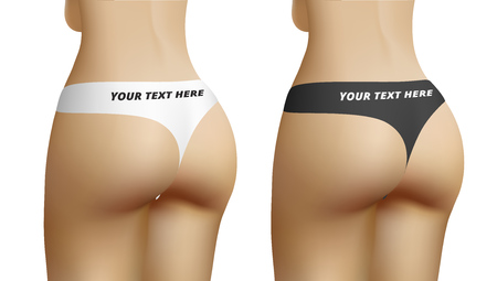 Sexy Female Ass In Black And White Panties With Space For Text. EPS10 Vector Illustration