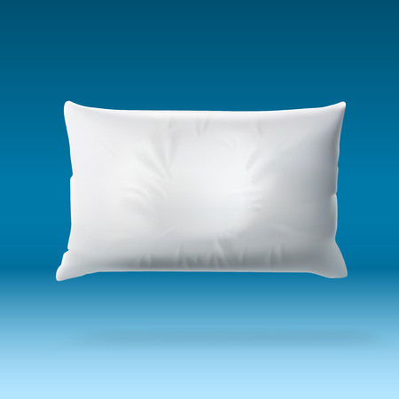 White Soft Pillow On Blue Background With Shadow. EPS10 Vector Banque d'images - 102940873