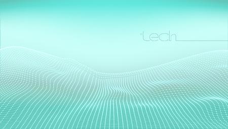 Abstract 3D Digital Grid Terrain Landscape Background. EPS10 Vector