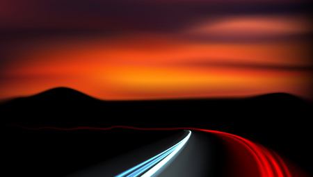Long Exposure Vehicles Light Trails On Freeway Ilustrace