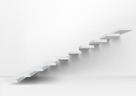 Escaleras claras ascendentes blancas realistas en una habitación vacía. Vector EPS10