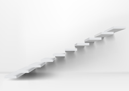 Realistic White Upward Clear Stairs In Empty Room. EPS10 Vector