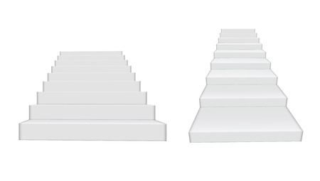 3D White Clear Realistic Stairs Isolated. EPS10 Vector