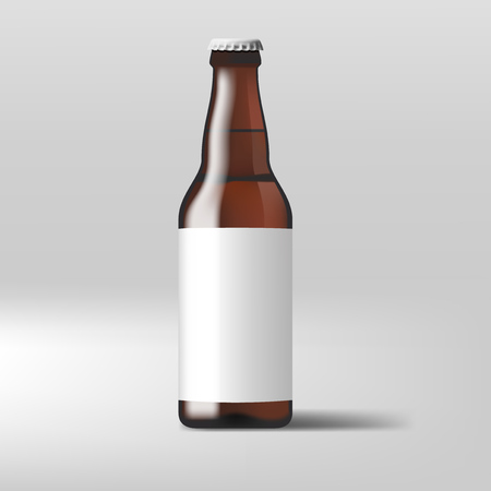 Realistic Clear Beer Bottle With White Label. EPS10 Vector Illustration