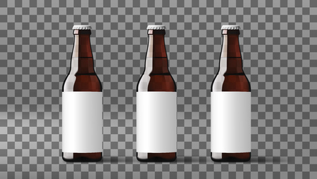 Realistic Clear Transparent Beer Bottles With White Label. EPS10 Vector