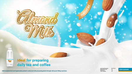 Realistic Advertising 3D Illustration Of Natural Almond Milk. EPS10 Vector