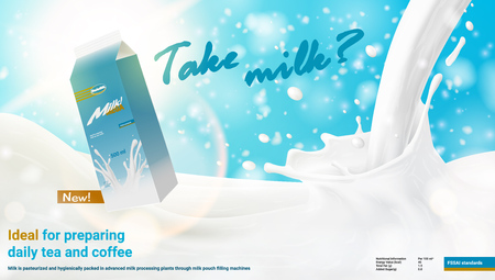 Realistic Pouring Milk Ad With Pack. EPS10 Vector Standard-Bild - 112377730